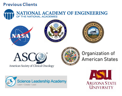 Image of previous clients: ASU, NASA, State Department, etc
